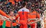 ROTTERDAM -  Opkomst van Oranje , met oa Lars Balk (NED)    voor  de Pro League hockeywedstrijd heren, Nederland-Spanje (4-0) . COPYRIGHT KOEN SUYK