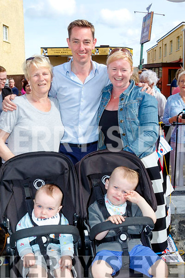 Ryan Tubridy broadcasted his show in Ballybunion last Wednesday, pictured outside the Coast Cáfe were Theresa Alen back Lt, with Marina, Oran&Aodhfin Cummins.