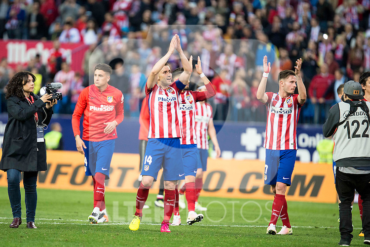 Atletico de Madrid's Gabi and Saul during La Liga Match at Vicente Calderon Stadium in Madrid. May 14, 2016. (ALTERPHOTOS/BorjaB.Hojas)