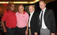 NWA Democrat-Gazette/CARIN SCHOPPMEYER (from left), Jim Hatfield, Dean Weber and David Shoemaker attend the Razorback football kickoff luncheon.