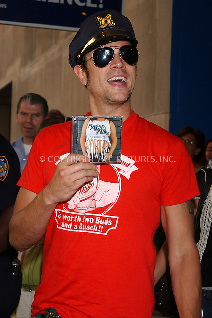 WWW.ACEPIXS.COM . . . . .  ....NEW YORK, AUGUST 3, 2005....Johnny Knoxville takes a moment to horse around outside MTV's TRL.....Please byline: KRISTIN CALLAHAN - ACE PICTURES.... *** ***..Ace Pictures, Inc:  ..Craig Ashby (212) 243-8787..e-mail: picturedesk@acepixs.com..web: http://www.acepixs.com