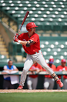 Philadelphia Phillies Madison Stokes (15) at bat during a Florida Instructional League game against the Baltimore Orioles on October 4, 2018 at Ed Smith Stadium in Sarasota, Florida.  (Mike Janes/Four Seam Images)