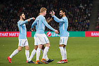 Manchester City's Ilkay Gundogan celebrates scoring his side's first goal with team-mates <br /> <br /> Photographer Craig Mercer/CameraSport<br /> <br /> UEFA Champions League Round of 16 First Leg - Basel v Manchester City - Tuesday 13th February 2018 - St Jakob-Park - Basel<br />  <br /> World Copyright &copy; 2018 CameraSport. All rights reserved. 43 Linden Ave. Countesthorpe. Leicester. England. LE8 5PG - Tel: +44 (0) 116 277 4147 - admin@camerasport.com - www.camerasport.com