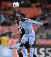 Sporting Kansas City forward Kei Kamara (23) heads the ball. Sporting Kansas City defeated D.C. United  1-0 at RFK Stadium, Saturday March 10, 2012.