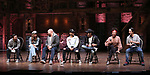 """Marc dela Cruz, Elizabeth Judd, Greg Treco, Terrance Spencer, Anthony Lee Medina, Sasha Hollinger with Lin-Manuel Miranda makes a surprise appearance during a Q & A before The Rockefeller Foundation and The Gilder Lehrman Institute of American History sponsored High School student #EduHam matinee performance of """"Hamilton"""" at the Richard Rodgers Theatre on 3/20/2019 in New York City."""