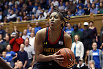 11 February 2013: Maryland's Tianna Hawkins. The Duke University Blue Devils played the University of Maryland Terrapins at Cameron Indoor Stadium in Durham, North Carolina in an NCAA Division I Women's Basketball game. Duke won the game 71-56.