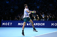 Roger Federer in action against Jack Sock<br /> <br /> Photographer Rob Newell/CameraSport<br /> <br /> International Tennis - Barclays ATP World Tour Finals - O2 Arena - London - Day 1 - Sunday 12th November 2017<br /> <br /> World Copyright &copy; 2017 CameraSport. All rights reserved. 43 Linden Ave. Countesthorpe. Leicester. England. LE8 5PG - Tel: +44 (0) 116 277 4147 - admin@camerasport.com - www.camerasport.com