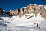 ITALY, Alta Badia/Dolomites, Skiers at the Feet of Sella Massif