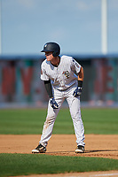 Staten Island Yankees first baseman Eric Wagaman (22) leads off first base during a game against the Lowell Spinners on August 22, 2018 at Richmond County Bank Ballpark in Staten Island, New York.  Staten Island defeated Lowell 10-4.  (Mike Janes/Four Seam Images)
