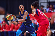 Washington, DC - August 31, 2018: Atlanta Dream guard Renee Montgomery (21) is guarded by Washington Mystics guard Kristi Toliver (20) during semi finals playoff game between Atlanta Dream and Wasington Mystics at the Charles Smith Center at George Washington University in Washington, DC. (Photo by Phil Peters/Media Images International)