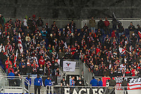 D. C. United fans. The New York Red Bulls and D. C. United played to a 0-0 tie during a Major League Soccer (MLS) match at Red Bull Arena in Harrison, NJ, on March 16, 2013.
