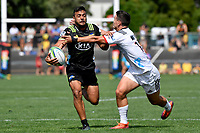 Hurricanes' Chase Tiatia in action during the Super Rugby Preseason - Hurricanes v Crusaders at Levin Domain, Levin, New Zealand on Saturday 2 February 2019. <br /> Photo by Masanori Udagawa. <br /> www.photowellington.photoshelter.com
