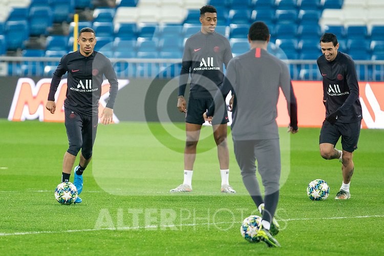PSG's Players Dagba, Di Maria and Presnel Kimpembe  during training session. <br /> November 25 ,2019.<br /> (ALTERPHOTOS/David Jar)