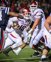 11/7/15<br /> Arkansas Democrat-Gazette/STEPHEN B. THORNTON<br /> Arkansas' QB Brandon Allen runs towards the  goal line for the winning two point conversion in overtime to beat  Ole Miss  Saturday's game in Oxford, Miss.