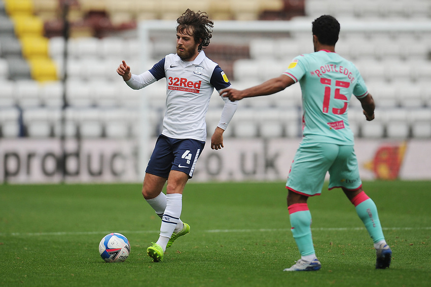 Preston North End's Ben Pearson under pressure from Swansea City's Wayne Routledge<br /> <br /> Photographer Kevin Barnes/CameraSport<br /> <br /> The EFL Sky Bet Championship - Preston North End v Swansea City - Saturday September 12th 2020 - Deepdale - Preston<br /> <br /> World Copyright © 2020 CameraSport. All rights reserved. 43 Linden Ave. Countesthorpe. Leicester. England. LE8 5PG - Tel: +44 (0) 116 277 4147 - admin@camerasport.com - www.camerasport.com