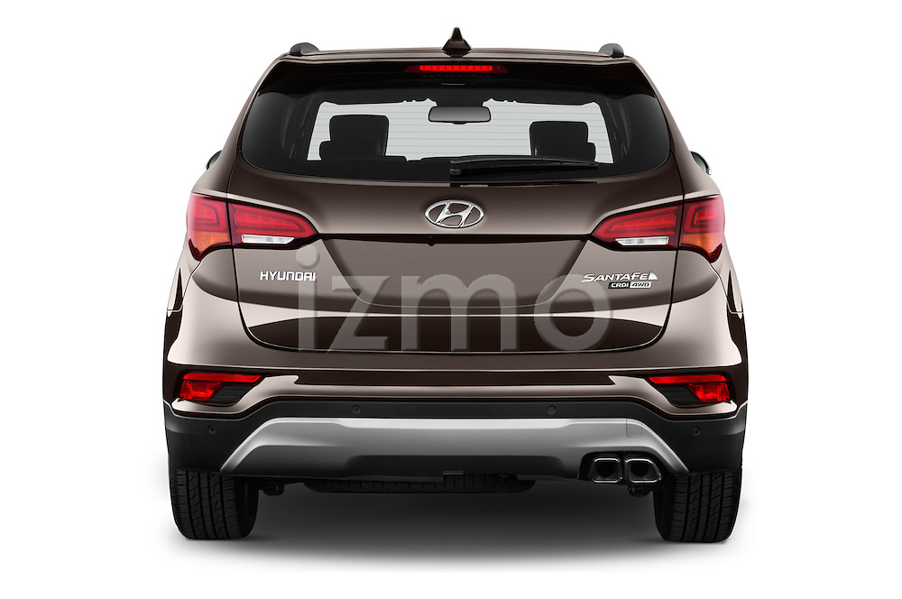 Straight rear view of 2016 Hyundai Santa-Fe Executive 5 Door Suv Rear View  stock images