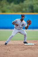 GCL Tigers West second baseman Jeremiah Burks (32) during a Gulf Coast League game against the GCL Blue Jays on August 3, 2019 at the Englebert Complex in Dunedin, Florida.  GCL Blue Jays defeated the GCL Tigers West 4-3.  (Mike Janes/Four Seam Images)