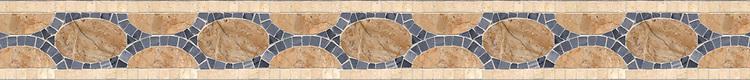 "4 1/4"" Olivia border, a hand-cut stone mosaic, shown in polished Bardiglio, Breccia Onicata, and Crema Marfi1."