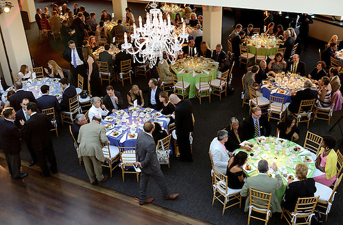 Room, food, tables at TribecRooftop for CELF's Tenth Anniversary Gala