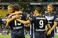 Melbourne, December 1, 2018 - Keisuke Honda of Melbourne Victory celebrates the goal by (15) Raul BAENA in the round six match of the A-League between Melbourne Victory and Western Sydney Wanderers at Marvel Stadium, Melbourne, Australia.