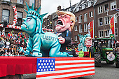 Düsseldorf, Germany. 27 February 2017. Floats with Donald Trump and the Statue of Liberty. Carnival parade on Shrove Monday (Rosenmontag) in Düsseldorf, North Rhine-Westphalia, Germany.