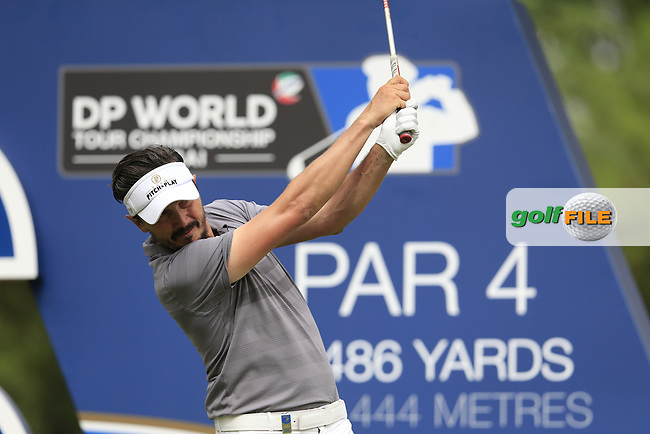 Mike Lorenzo-Vera (FRA) on the 16th tee during the 3rd round of the DP World Tour Championship, Jumeirah Golf Estates, Dubai, United Arab Emirates. 17/11/2018<br /> Picture: Golffile | Fran Caffrey<br /> <br /> <br /> All photo usage must carry mandatory copyright credit (© Golffile | Fran Caffrey)