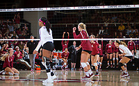 STANFORD, CA - September 9, 2018: Kathryn Plummer. Morgan Hentz, Meghan McClure, Jenna Gray at Maples Pavilion. The Stanford Cardinal defeated #1 ranked Minnesota 3-1 in the Big Ten / PAC-12 Challenge.