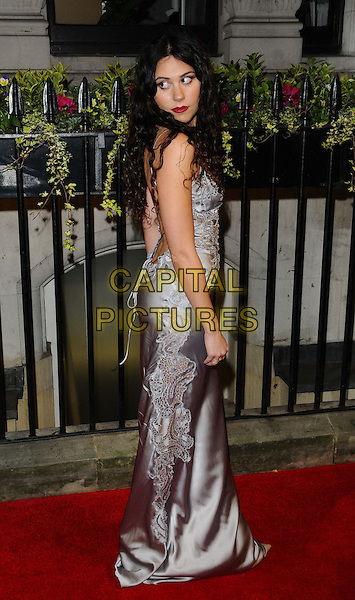 Eliza Doolittle<br /> attending the BFI Luminous Gala Dinner, 8 Northumberland Avenue, London, England.<br /> 8th October 2013<br /> full length silver grey gray silk satin dress lace side looking over shoulder <br /> CAP/CAN<br /> &copy;Can Nguyen/Capital Pictures