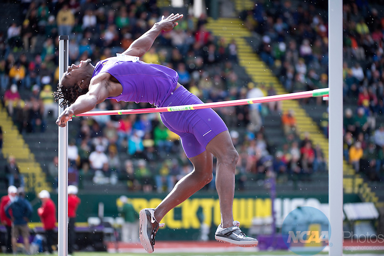 10 JUNE 2016:  Matthew Campbell of Albany University competes in the high jump during the Division I Men's Outdoor Track & Field Championship is held at the Hayward Field in Eugene, OR.  Campbell placed 7th with a 2.19 meter jump.  Jamie Schwaberow/NCAA Photos