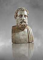 Roman marble sculpture bust of Aeschines, 23BC yo 14 AD Augustin copy from an original 340-330 BC Hellanistic Greek original, inv 6139, Naples Museum of Archaeology, Italy