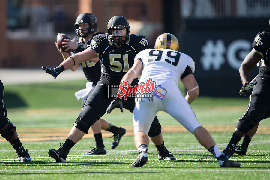 Cory Helms (51) of the Wake Forest Demon Deacons during first half action against the Army Black Knights at BB&T Field on September 20, 2014 in Winston-Salem, North Carolina.  The Demon Deacons defeated the Black Knights 24-21.  (Brian Westerholt/Sports On Film)