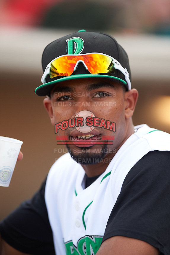 Dayton Dragons outfielder Narciso Crook (36) in the dugout before a game against the Great Lakes Loons on May 21, 2015 at Fifth Third Field in Dayton, Ohio.  Great Lakes defeated Dayton 4-3.  (Mike Janes/Four Seam Images)