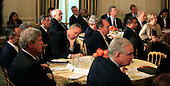 The nation's governors listen to United States President Barack Obama as he delivers remarks and takes questions at a meeting with the National Governors Association in the State Dining Room of the White House in Washigton, DC on February 22, 2016.<br /> Credit: Dennis Brack / Pool via CNP