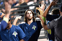 Right fielder Gene Cone (9) of the Columbia Fireflies is congratulated after scoring a run in a game against the Lexington Legends on Thursday, June 8, 2017, at Spirit Communications Park in Columbia, South Carolina. Columbia won, 8-0. (Tom Priddy/Four Seam Images)