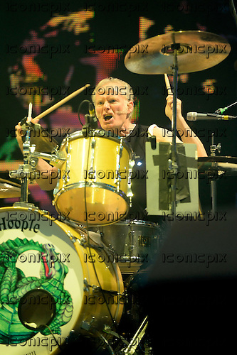 Mott The Hoople - drummer Martin Chambers - performing live at the O2 Arena in London UK - 18 Nov 2013.  Photo credit: George Chin/IconicPix
