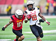 College Park, MD - APR 22, 2016: Maryland Terrapins defensive back Josh Woods (10) dives to tackle Maryland Terrapins wide receiver DJ Turner (10) during the 2017 Spring game at Capital One Field at Maryland Stadium in College Park, MD. (Photo by Phil Peters/Media Images International)