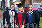 Mark Hayes (Cork) and Matthew Connolly, (Kildare) who graduated in Adventure and Tourism Management with Natalia Czerska (Newcastle West) who graduated in (Travel and Tourism Management), from IT Tralee, at the Brandon Conference Centre, Tralee, on Friday last.