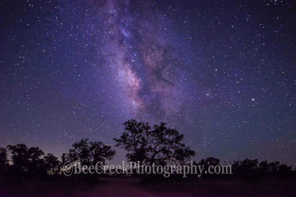 This starry night galaxy landscape with just a silouette of some trees show that you can get far enough out to enjoy the milkyway in the night skies in the Texas Hill country.
