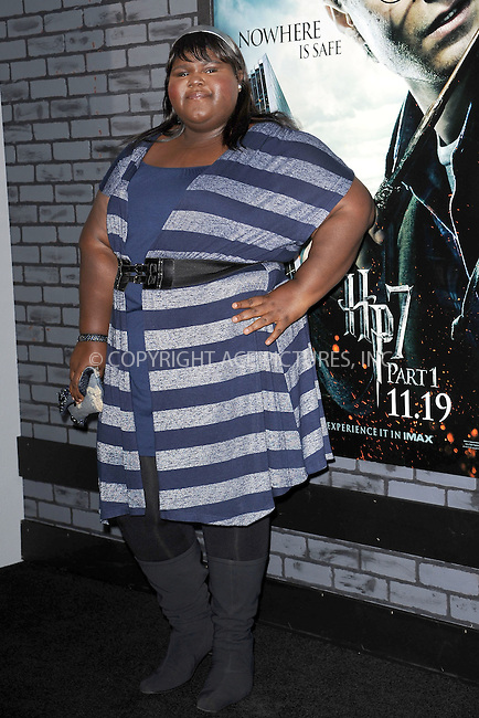 WWW.ACEPIXS.COM . . . . . .November 15, 2010...New York City...Gabourey Sidibe attends the Premiere of Harry Potter And The Deathly Hallows: Part 1 at Alice Tully Hall on November 15, 2010 in New York City....Please byline: KRISTIN CALLAHAN - ACEPIXS.COM.. . . . . . ..Ace Pictures, Inc: ..tel: (212) 243 8787 or (646) 769 0430..e-mail: info@acepixs.com..web: http://www.acepixs.com .