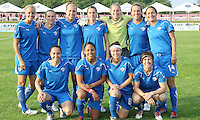 The starting eleven for the Boston Breakers.  The Breakers and Sky Blue played to a scoreless tie at Yurcak Field in Picataway, NJ, on Saturday, May 29th.