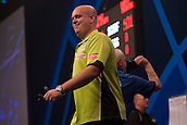 01.01.2014.  London, England.  William Hill PDC World Darts Championship.  Quarter Final Round.  Michael van Gerwen (1) [NED] interacts with the crowd during his game with Robert Thornton (9) [SCO]