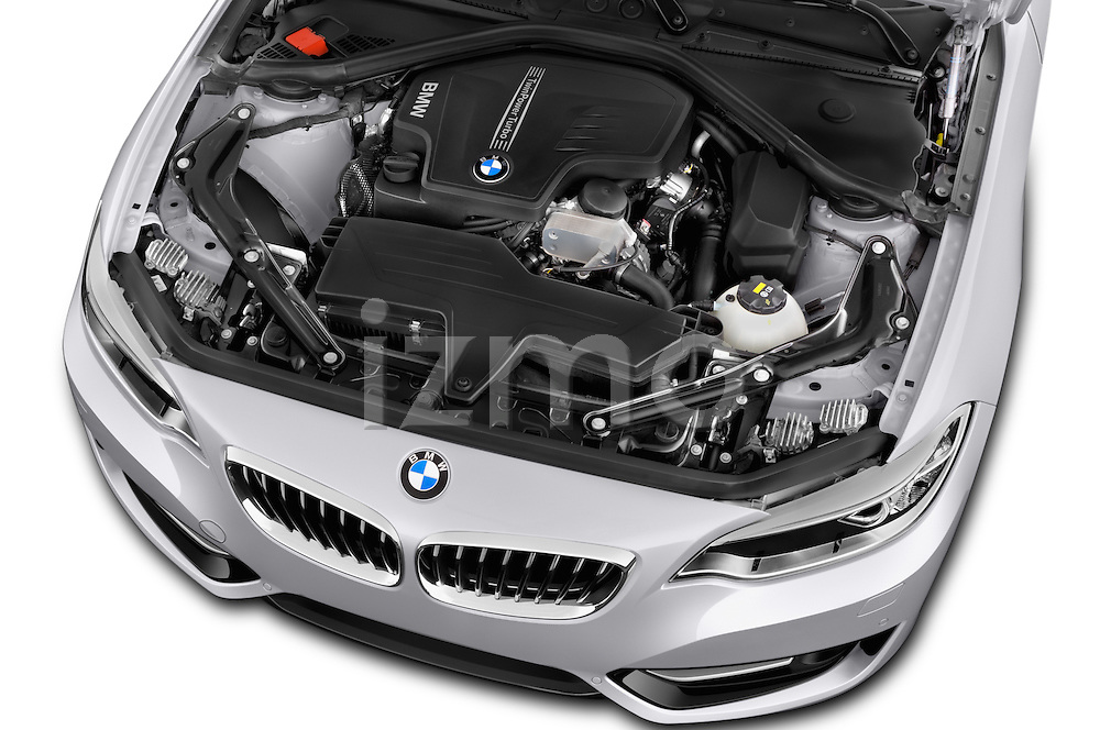 Car Stock 2017 BMW 2-Series 230i 2 Door Convertible Engine  high angle detail view