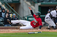 Fort Wayne TinCaps Blake Hunt (12) slides across home plate during a Midwest League game against the Fort Wayne TinCaps at Parkview Field on April 30, 2019 in Fort Wayne, Indiana. Kane County defeated Fort Wayne 7-4. (Zachary Lucy/Four Seam Images)