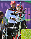 LONDON, ENGLAND 08/30/2012:  Line Tremblay competing in the Women's Individual Recurve- W1/W2 at the London 2012 Paralympic Games in the Royal Artillery Barracks. (Photo by Matthew Murnaghan/Canadian Paralympic Committee)