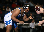 Dustin Frederick (VII) and Art Garvey (VI) square off in the NY State Division One finals at the 285 weight class during the NY State Wrestling Championship finals at Blue Cross Arena on March 9, 2009 in Rochester, New York.  (Copyright Mike Janes Photography)
