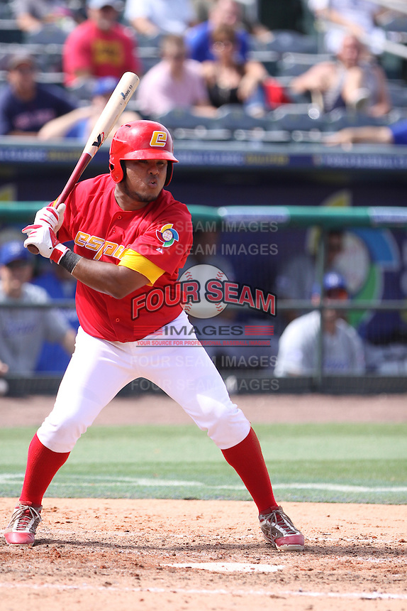 Jesus Golindano of Team Spain at bat during a game against Team Israel during the World Baseball Classic preliminary round at Roger Dean Stadium on September 21, 2012 in Jupiter, Florida. Team Israel defeated Team Spain 4-2. (Stacy Jo Grant/Four Seam Images)
