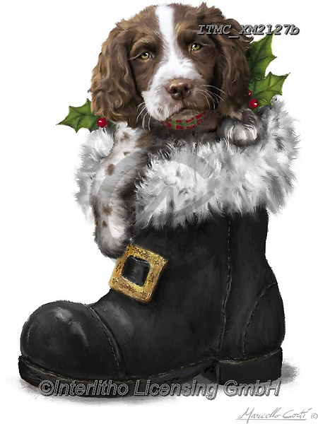 Marcello, CHRISTMAS ANIMALS, WEIHNACHTEN TIERE, NAVIDAD ANIMALES, paintings+++++,ITMCXM2127B,#xa# ,dog,shoe,boot,