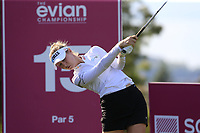 Nelly Korda (USA) tees off the 15th tee during Friday's Round 2 of The Evian Championship 2018, held at the Evian Resort Golf Club, Evian-les-Bains, France. 14th September 2018.<br /> Picture: Eoin Clarke | Golffile<br /> <br /> <br /> All photos usage must carry mandatory copyright credit (&copy; Golffile | Eoin Clarke)