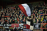 © Joel Goodman - 07973 332324 . 14/11/2015 . Manchester , UK . FC United fans in the St Mary's Road end terrace . FC United host Gainsborough Trinity in the National League North at Broadhurst Park . NB requested changing room access three times and was denied three times . Photo credit : Joel Goodman