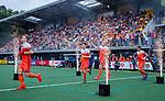 Den Bosch  -  Mink van der Weerden (Ned) , Jelle Galema (Ned)  , Mirco Pruijser (Ned), Bjorn Kellerman (Ned)    betreden  het veld voor   de Pro League hockeywedstrijd heren, Nederland-Belgie (4-3).    COPYRIGHT KOEN SUYK